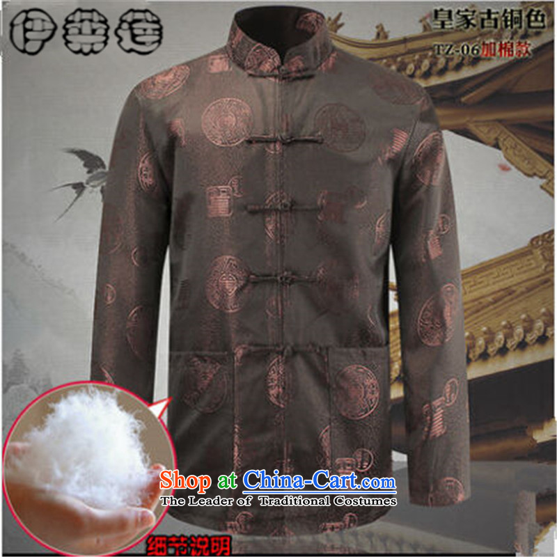 Hirlet Ephraim Fall 2015 of older persons in the New China wind father of ethnic Chinese with Grandpa PU Men's Shirt PU leather jacket Bronze plus cotton) 185