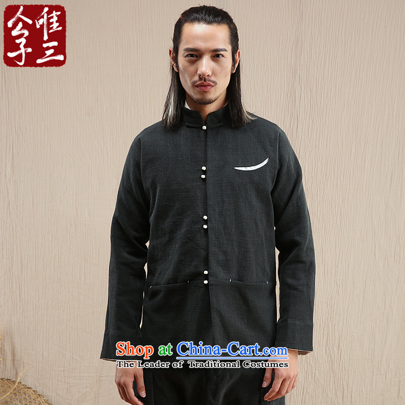 Cd 3 model of the remotest corner of the Red Snow linen china wind jacket men casual male Chinese Tang dynasty ethnic Han-dark green聽165_84A_S_ autumn and winter.