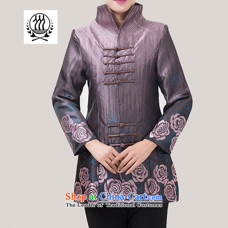 Bosnia and the fall of line thre in older women LONG TANG blouses Chinese improved stylish mother jackets national wind jacket?F850 stamp?purple women 5XL