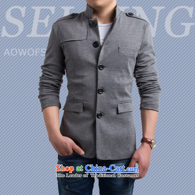 The English fashion Men's Mock-Neck small suit Chinese tunic�Y015 Sau San�gray�M