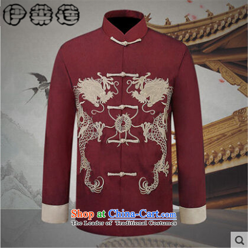 Hirlet Ephraim Fall 2015 new retro leisure China wind men's jackets father grandfather Tang replacing Chinese ethnic men t-shirt Male Red 190