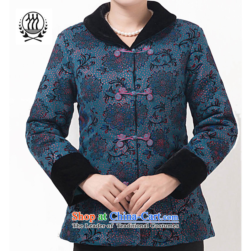 Bosnia and Ms. line thre Tang blouses MOM pack load Spring and Autumn Chinese improvements jacket Ms. national costume of ethnic stamp Tang blouses F853 BLUE XXXL Women