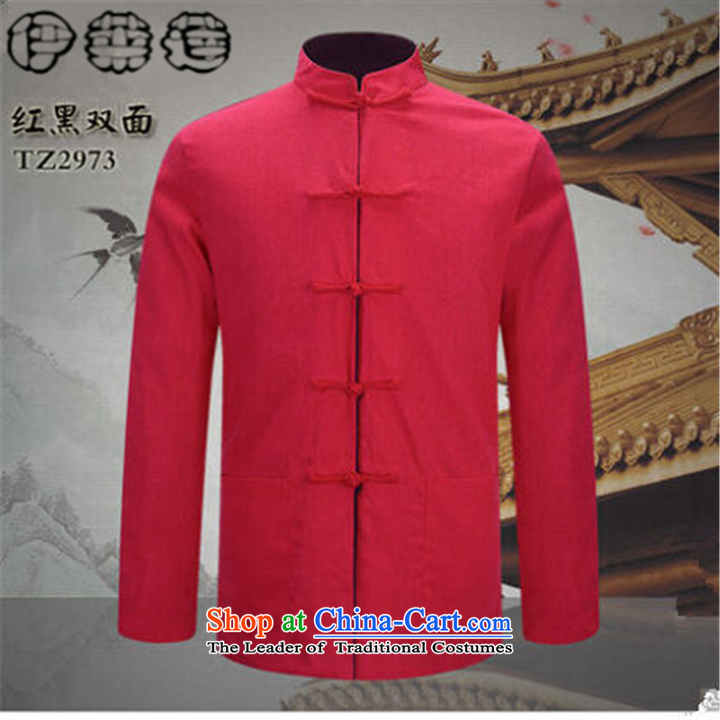 Hirlet Ephraim Fall 2015 New Men Tang jacket in older Chinese men's long-sleeved sweater China wind father blouses black and red double-sided M