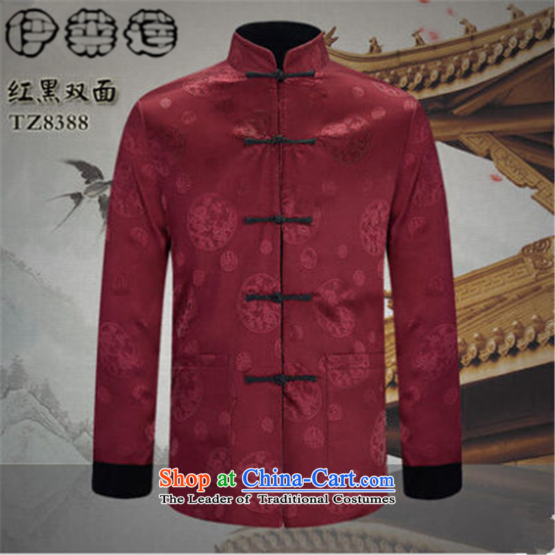 Hirlet Ephraim Fall 2015 new retro men Tang jacket in older long-sleeved jacket wearing two-sided Chinese men China wind father blouses and black and red double-sided聽175