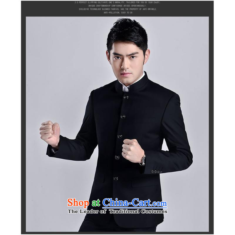 The 2015 New Chinese tunic kit stylish Men's Mock-Neck Sau San suit Chinese Youth Pack Black燲XL