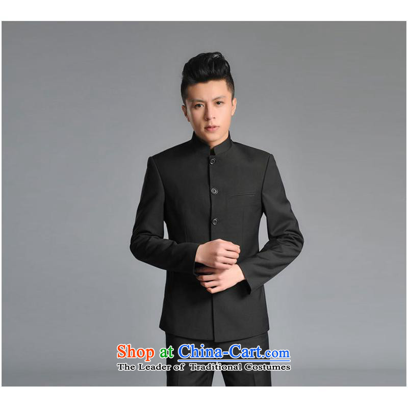 Mr Ronald Men's Mock-Neck Chinese tunic Korean youth with collar Sau San suits Chinese national services black�XXL