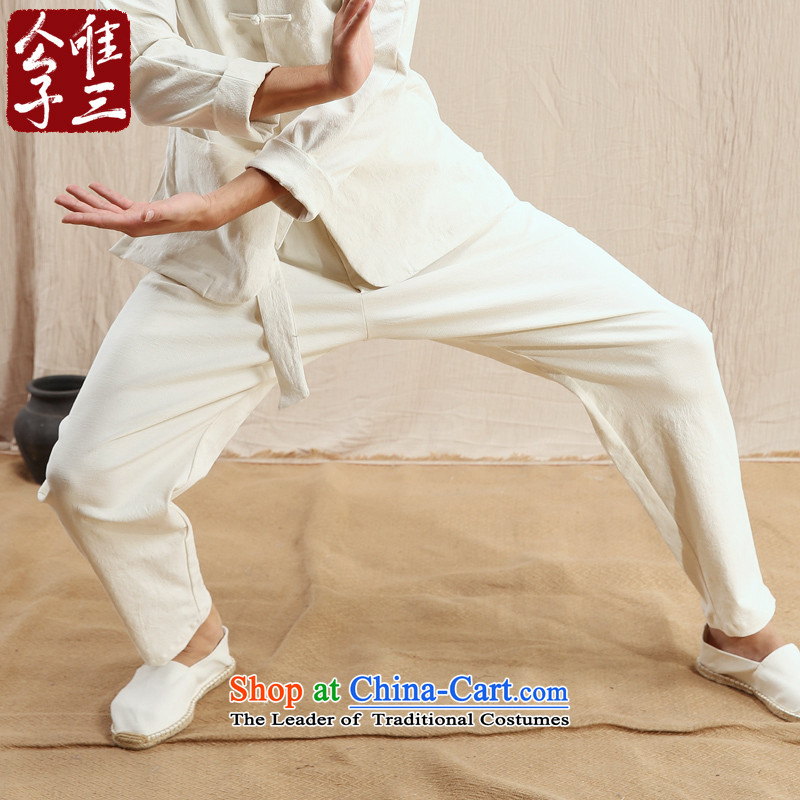 Cd 3 model kung fu China wind linen pants practicing Chinese men's trousers Tang Dynasty Recreation and autumn and winter, rice white�5_100A_XXL_ thick