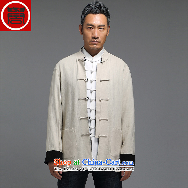 Renowned China wind retro men Chinese loose long-sleeved Chinese collar disc detained Chinese tunic duplex Tang Dynasty Yi put on Men's Shirt Han-kung fu XXXL Light Gray