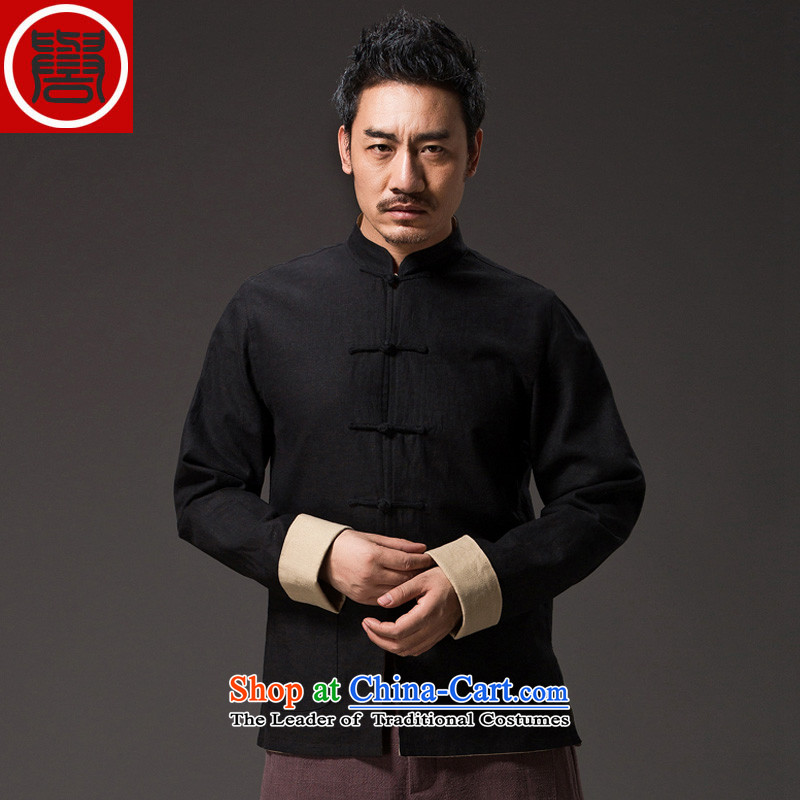 Renowned China wind retro men Chinese loose long-sleeved Chinese collar disc detained Chinese tunic duplex Tang Dynasty Yi put on Men's Shirt Han-kung fuXXXL, light gray (CHIYU renowned shopping on the Internet has been pressed.)