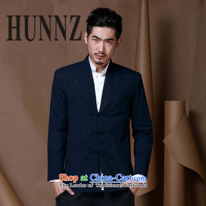 燭ang Dynasty male jacket HUNNZ Long-sleeve Sau San National wind up Chinese men China detained men autumn wind load Dark Blue�5