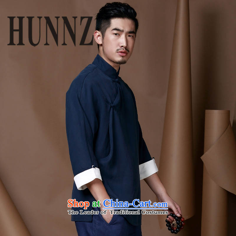 Tang Dynasty and long-sleeved HUNNZ Chinese Mock-Neck Shirt Natural Linen minimalist tray clip shirt men Han-T-shirt Dark Blue 190