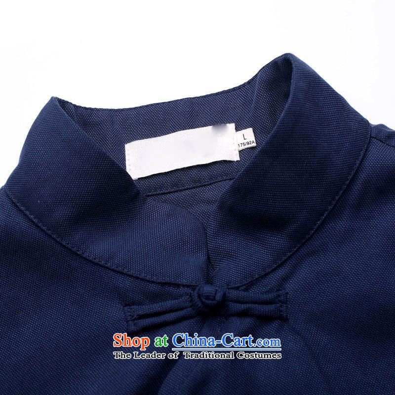 Tang Dynasty and long-sleeved HUNNZ Chinese Mock-Neck Shirt Natural Linen minimalist tray clip shirt men Han-T-shirt dark blue聽190,HUNNZ,,, shopping on the Internet
