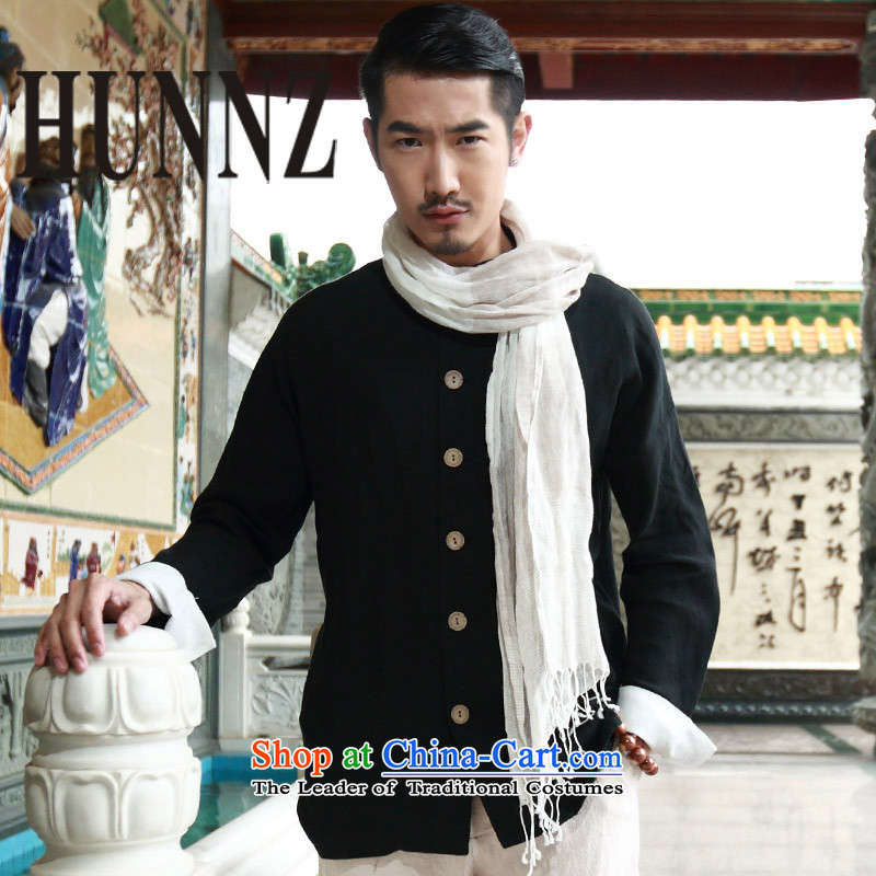 ?The new national clothes HUNNZ men Tang Dynasty Chinese linen long-sleeved shirt leisure maximum deduction of men Chinese tunic Black?170