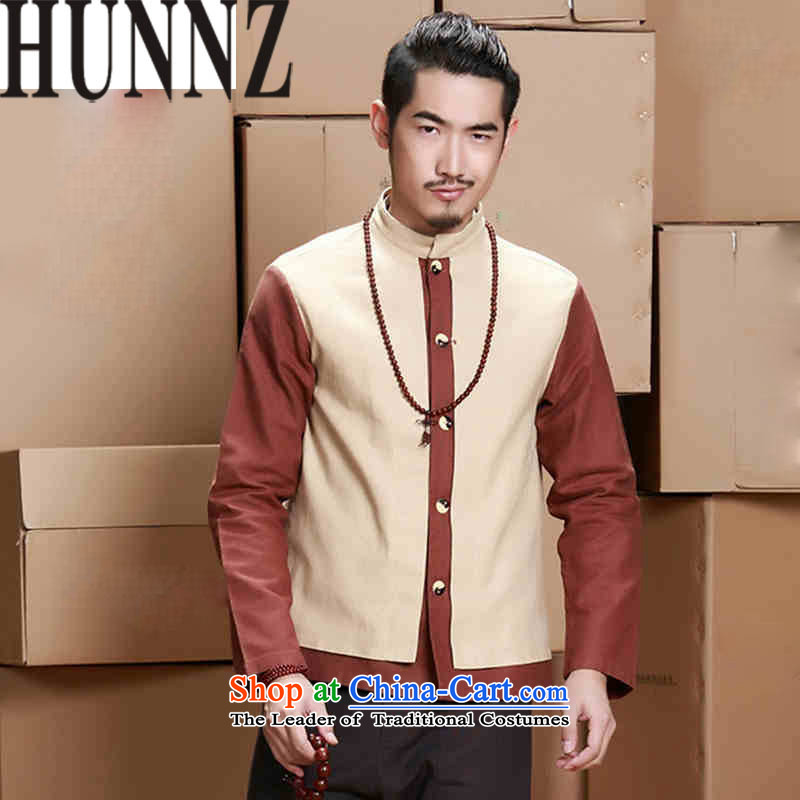 Hunnz China wind men cotton linen coat stylish stitching Tang Dynasty Han-men Chinese tunic national costumes light yellow 170