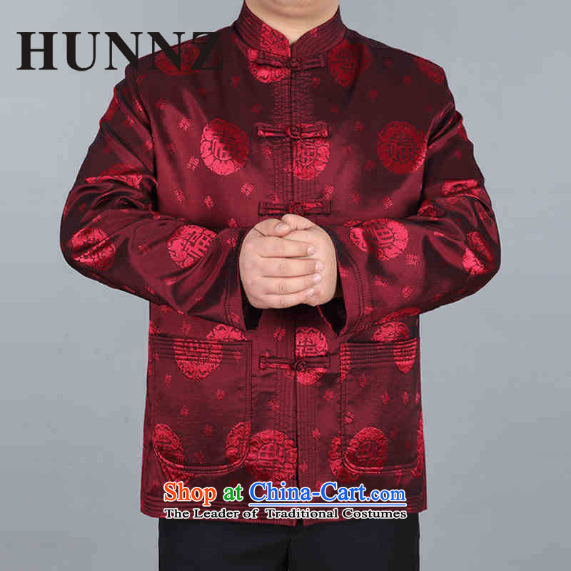 Hunnz men Tang jacket in older Mock-Neck Shirt Birthday Feast National Chinese jacket grandfather boxed dark red聽180