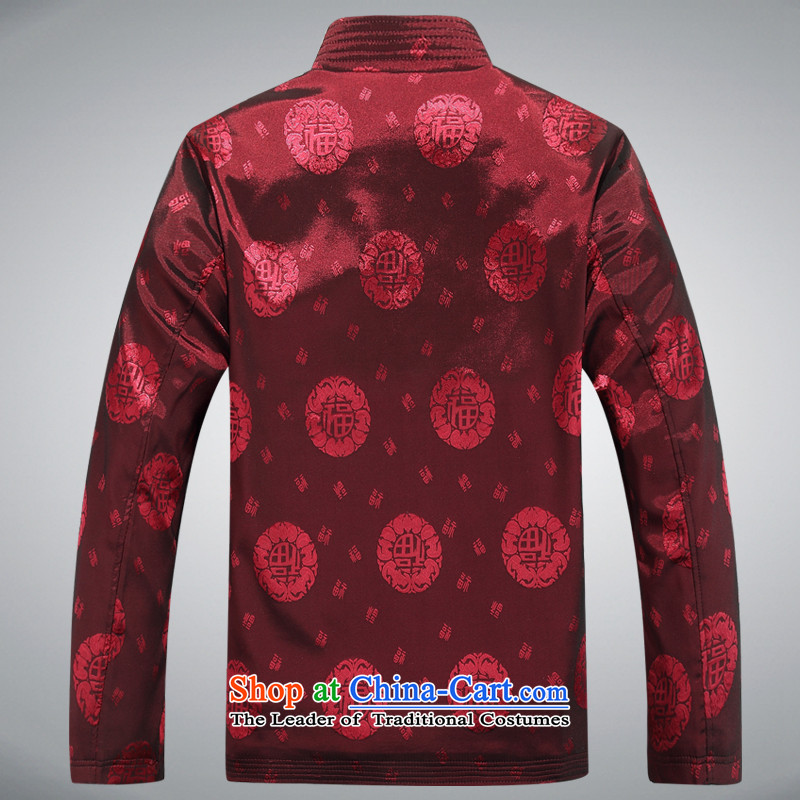 Hunnz men Tang jacket in older Mock-Neck Shirt Birthday Feast National Chinese jacket with dark red 180,HUNNZ,,, grandpa shopping on the Internet