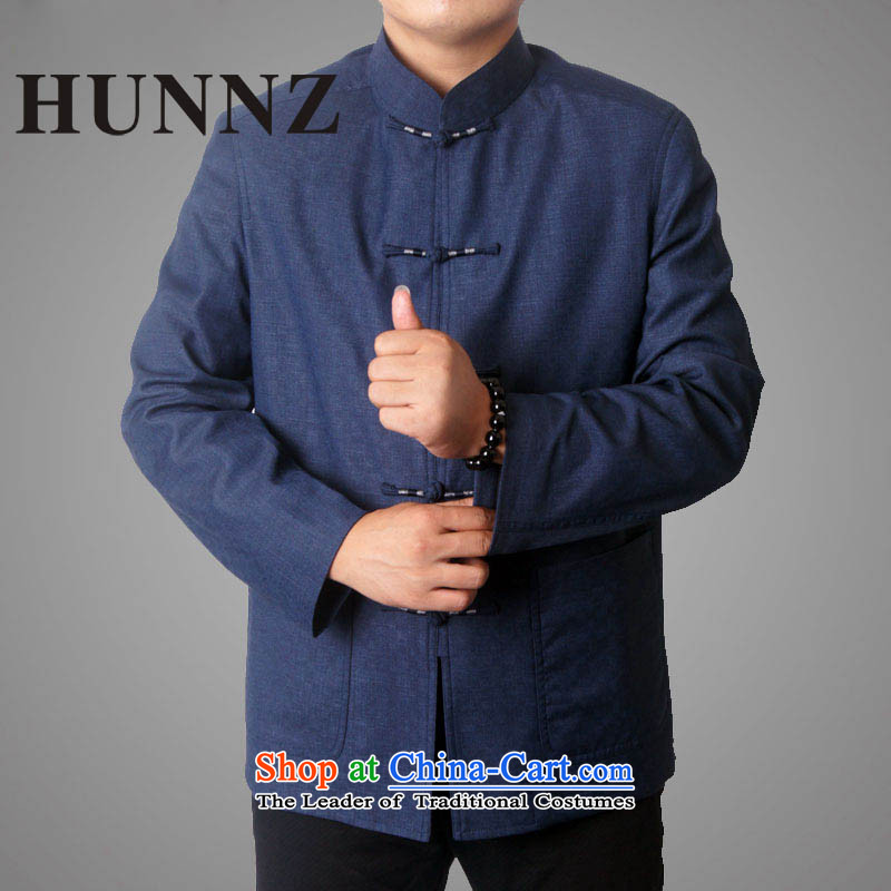 Male 15 new HUNNZ) Fall/Winter Collections in Tang Dynasty long-sleeved older men Tang dynasty Mock-neck Tang Jacket Dark Blue?190