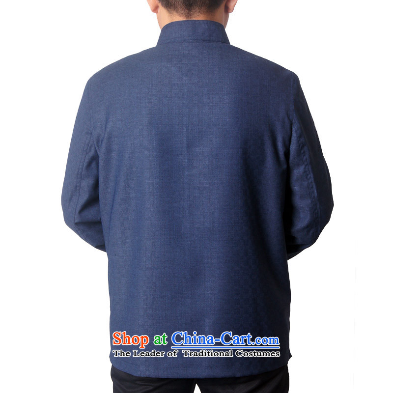 Male 15 new HUNNZ) Fall/Winter Collections in Tang Dynasty long-sleeved older men Tang dynasty collar short dark blue jacket聽190,HUNNZ,,, shopping on the Internet