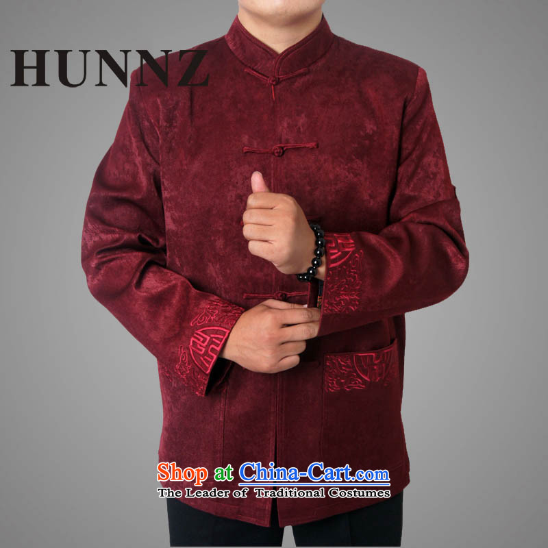 �The new Chinese cotton HUNNZ serving the elderly in the Tang dynasty and replace father loose thick long-sleeved jacket men Tang deep red�180