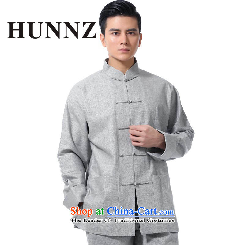 � 燦atural Linen traditional Tang HUNNZ replacing men and long-sleeved packaged in a contemporary fashion Older long-sleeved gown kung fu service pack Light Gray燲XL