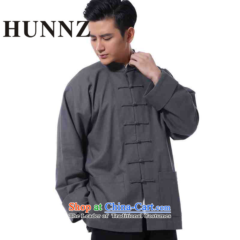 Hunnz�men's Chinese New long-sleeved shirt linen clothes China wind up charge-back collar retro jacket improved Tang Dynasty Gray�L
