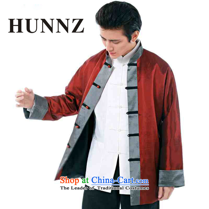 Hunnz China wind men Tang dynasty and long-sleeved red banquet new Chinese Dress Chinese collar red jacket燲XXL Folder