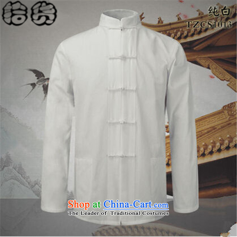 The Fall 2015 pickup of Chinese collar of older persons in the Tang dynasty and long-sleeved men's father Han-loaded ball-service shirt of Chinese kung fu blouses Pure White?190