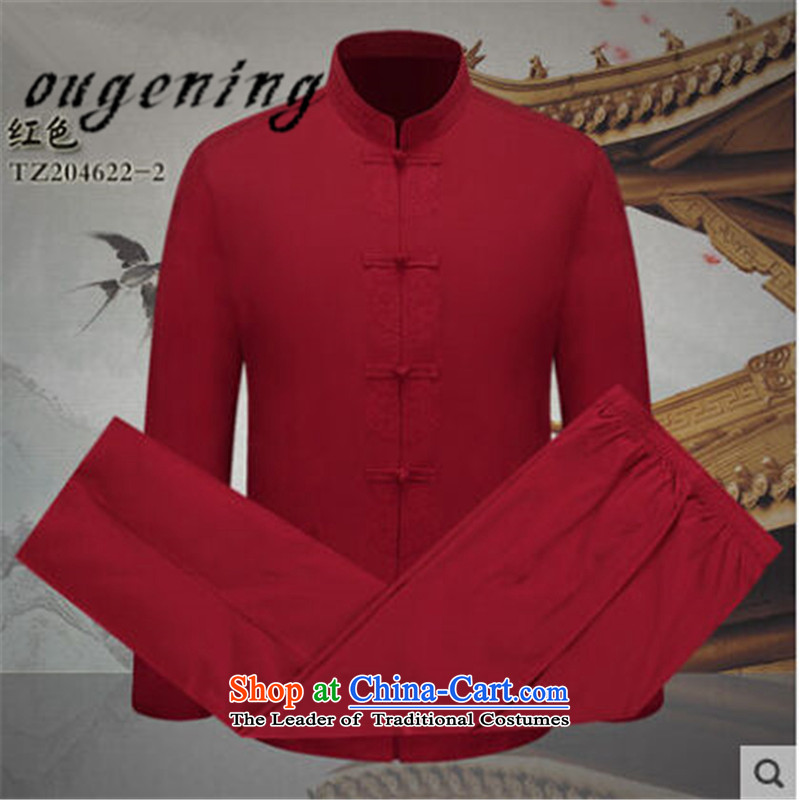 The name of the 2015 autumn of the OSCE New China wind men long-sleeved Tang Dynasty Package men of older persons in the father festive dress two kits Red聽170