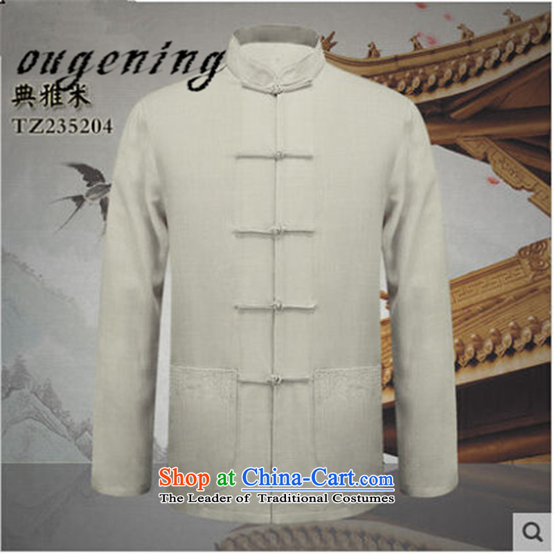 The name of the 2015 autumn of the OSCE New China wind new products natural cotton linen long-sleeved shirt Dad Tang Gown of older persons in the retro fitted shirt yi elegant grandpa M燣
