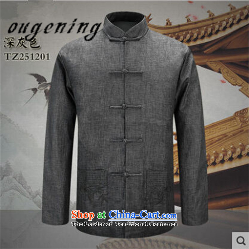 The name of the 2015 autumn of the OSCE new men with Chinese shirt jacket grandpa men in older father China wind retro Tang casual jacket燲XXL Carbon