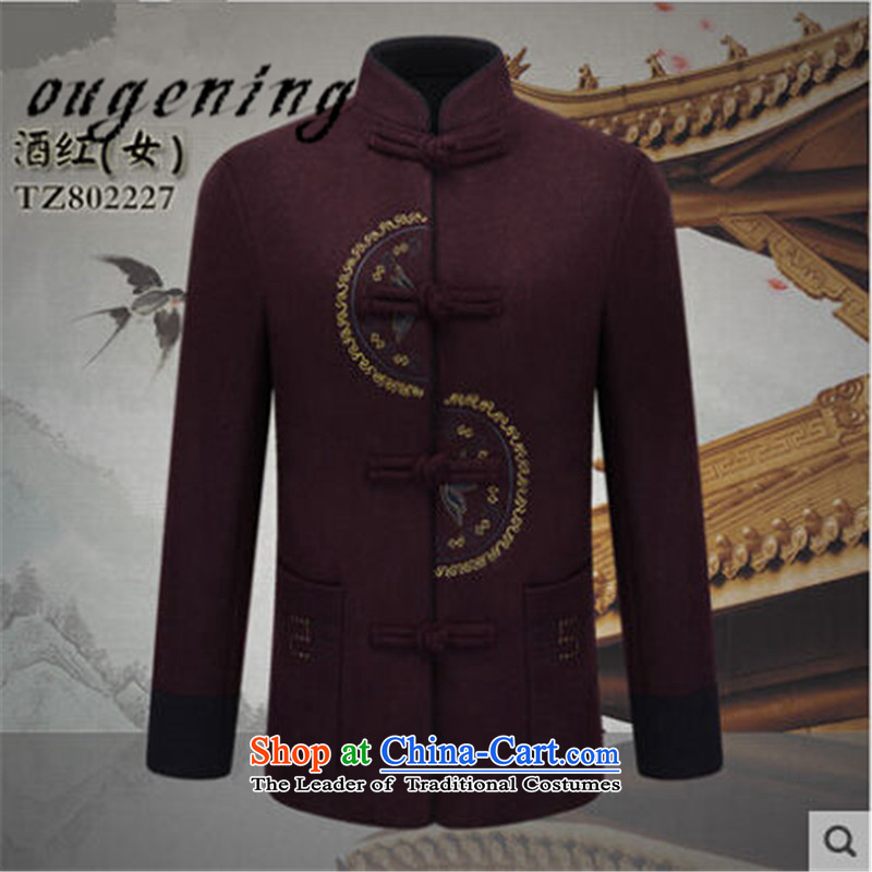 The name of the 2015 autumn of the OSCE in the new new new elderly couples Tang dynasty men's woolen a grandfather replacing old grandma shirt wine red jacket female�0