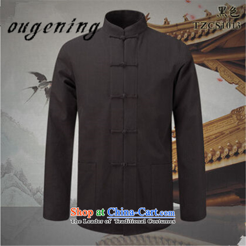 The name of the 2015 autumn of the OSCE New China wind Men's Mock-Neck pure cotton long-sleeved shirt that older blacklead leisure Tang Dynasty Chinese Antique shirt Black聽170