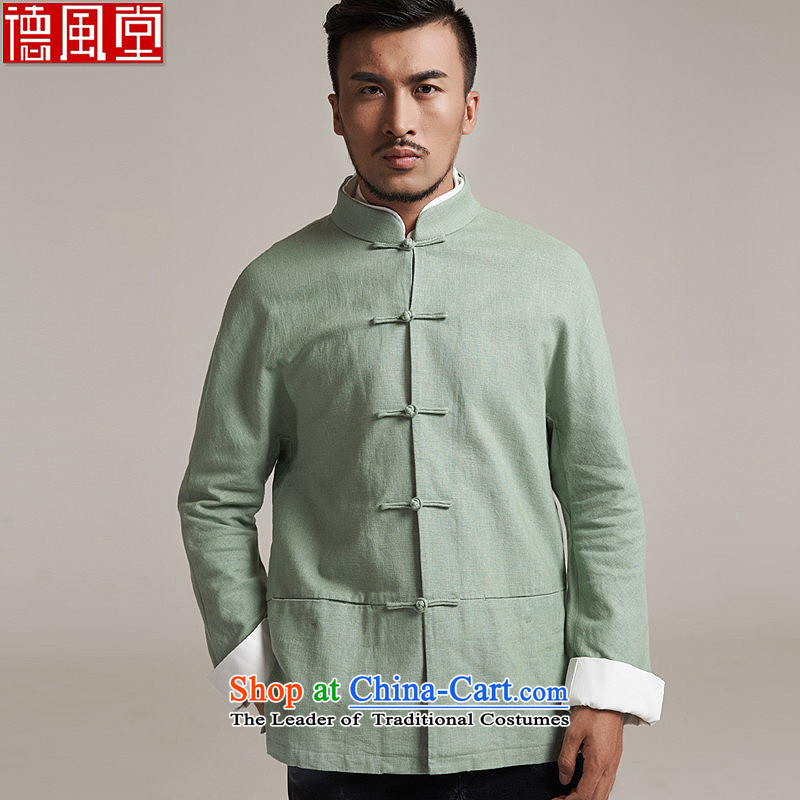 Fudo Tsing Kwan Tak  autumn 2015 new products men Tang dynasty China wind men even leisure long-sleeved jacket water shoulder 3XL/52 green