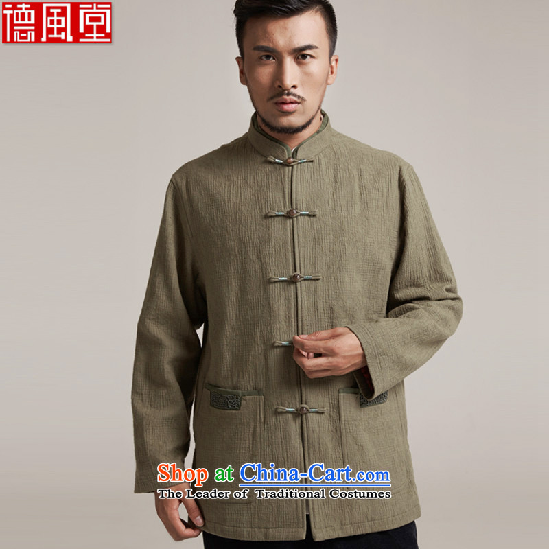Fudo align de de Chinese improved color flip sleeve men in Tang Dynasty robe older leisure stay jacket China wind loading of new products by 2015 Autumn XL/48 Yellow Green