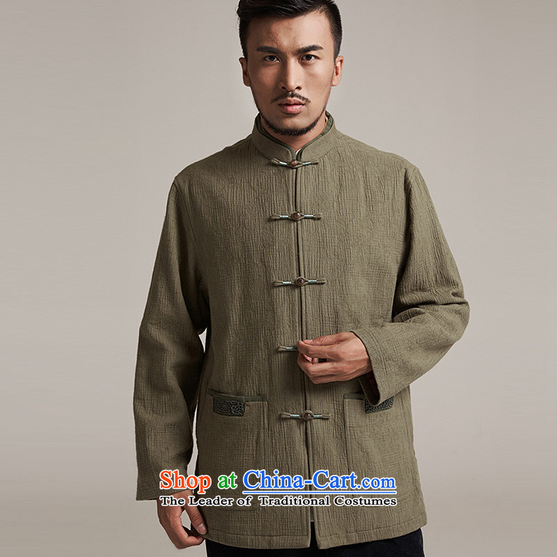 Fudo align de de Chinese improved color flip sleeve men in Tang Dynasty robe older leisure stay jacket China wind聽loading of new products by 2015 Autumn yellow green聽XL/48, de fudo shopping on the Internet has been pressed.