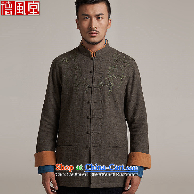 De Fudo gin wool men Tang dynasty China wind men's jackets older leisure long-sleeved improvement even flip sleeve Sau San, shoulder the燼utumn 2015 replacing燤_44 green
