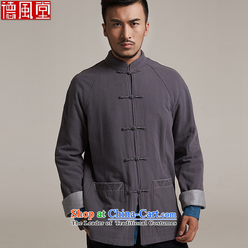 De Fudo ohiro?autumn 2015 new products men Tang dynasty China wind men's jackets older leisure long-sleeved Tang Dynasty Warm gray?3XL52