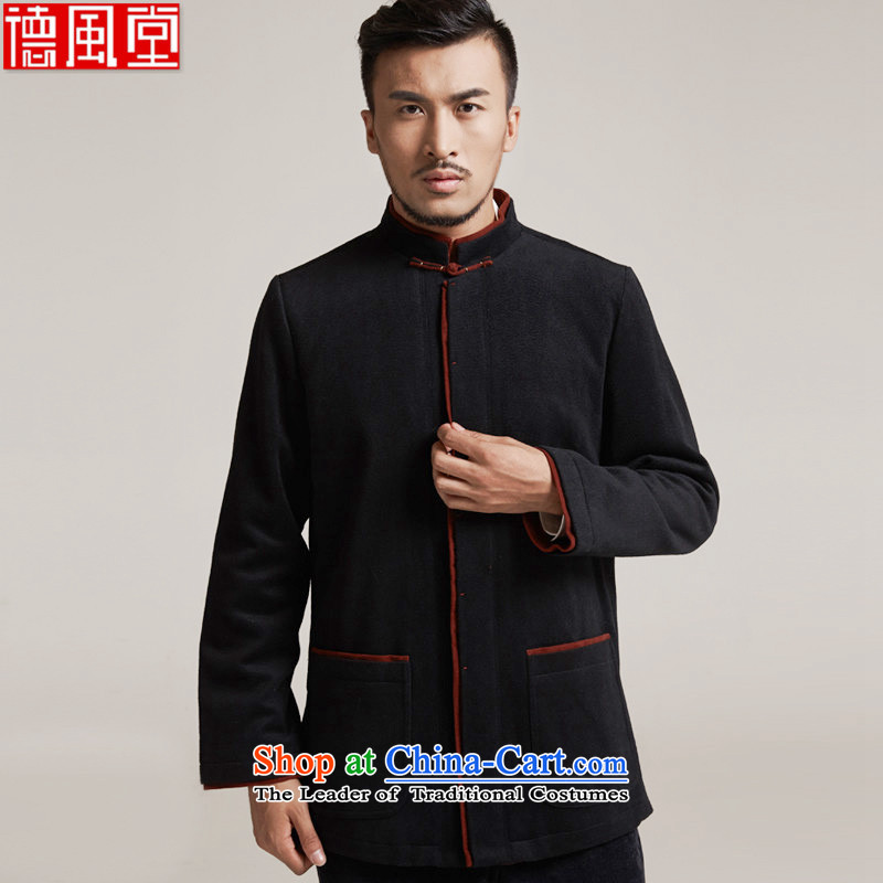The World Champion Fudo de聽2015 autumn and winter new products men Tang dynasty China wind men robe older leisure jacket Tang dynasty warm black聽L_46
