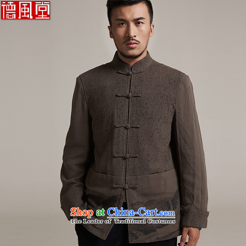 Fudo de saint de 2015 autumn and winter new products men Tang dynasty China wind men robe older leisure Tang Dynasty to warm jacket, gray and green 3XL_52