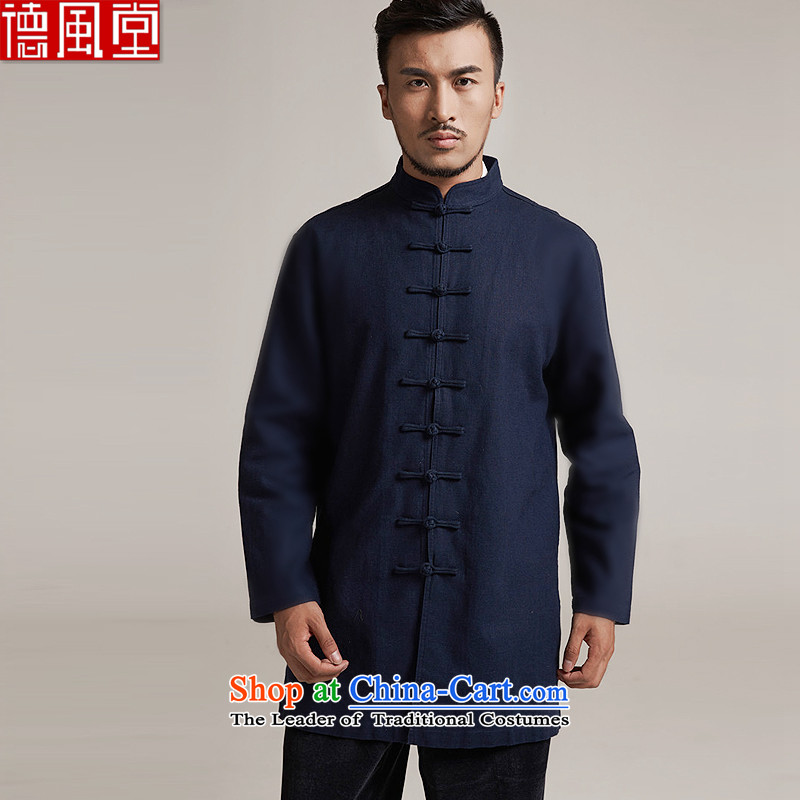 Fudo chin yat de聽2015 autumn and winter new products men Tang dynasty China wind men in long jacket, older leisure jacket China wind聽M_44 Dark Blue