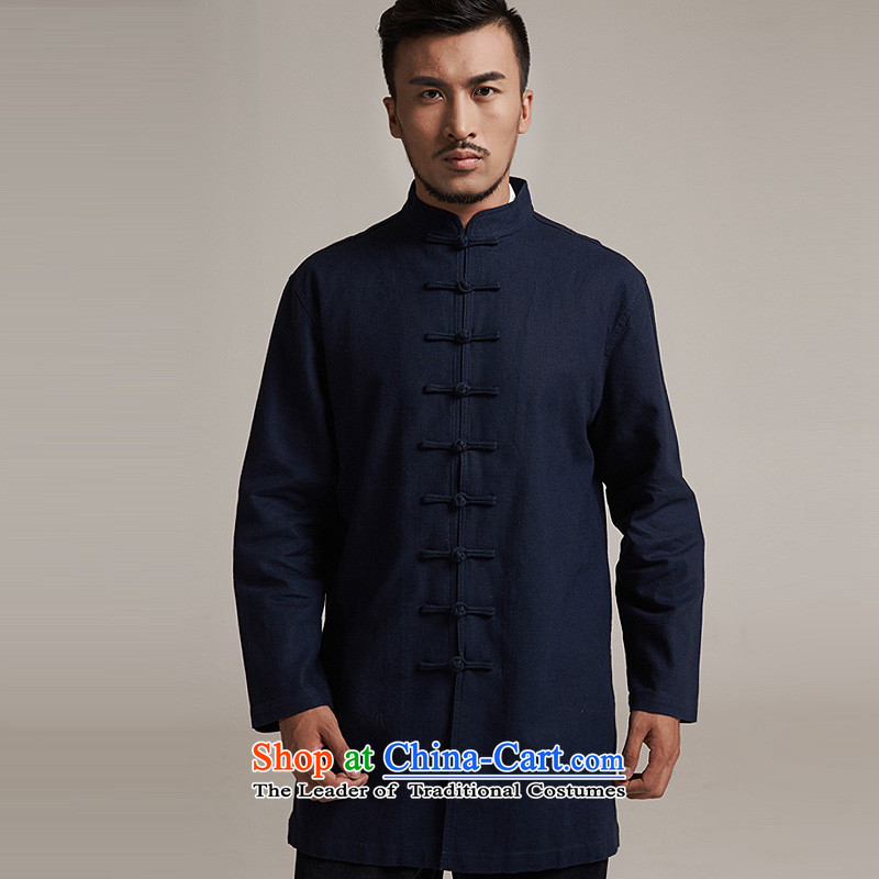 Fudo chin yat de聽2015 autumn and winter new products men Tang dynasty China wind men in long jacket, older leisure China wind jacket聽, dark blue M/44, fudo shopping on the Internet has been pressed.