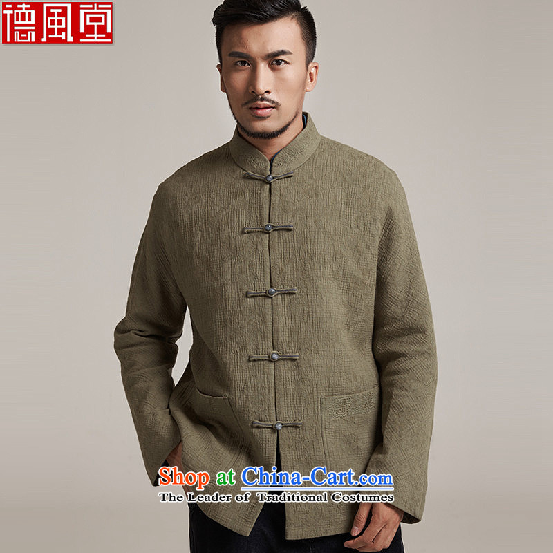 Fudo large council de Nice improvement of older men's jackets personalized embroidery disc detained leisure long-sleeved shirt China wind men聽XL_48 Yellow Green