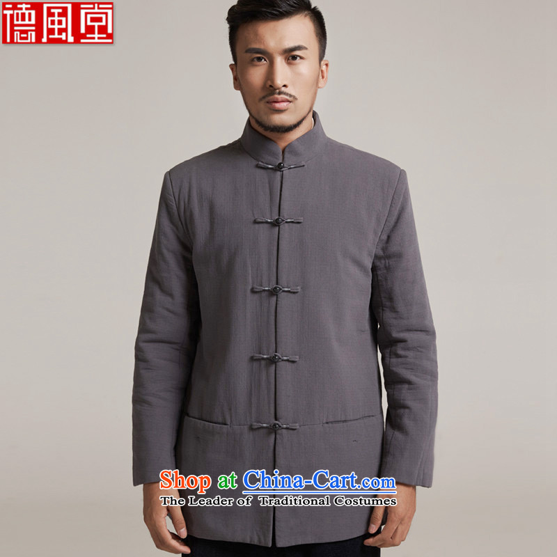 Fudo Zhengde de 2015 autumn and winter new products men Tang dynasty China wind men robe older leisure jacket Tang dynasty warm dark gray M/44