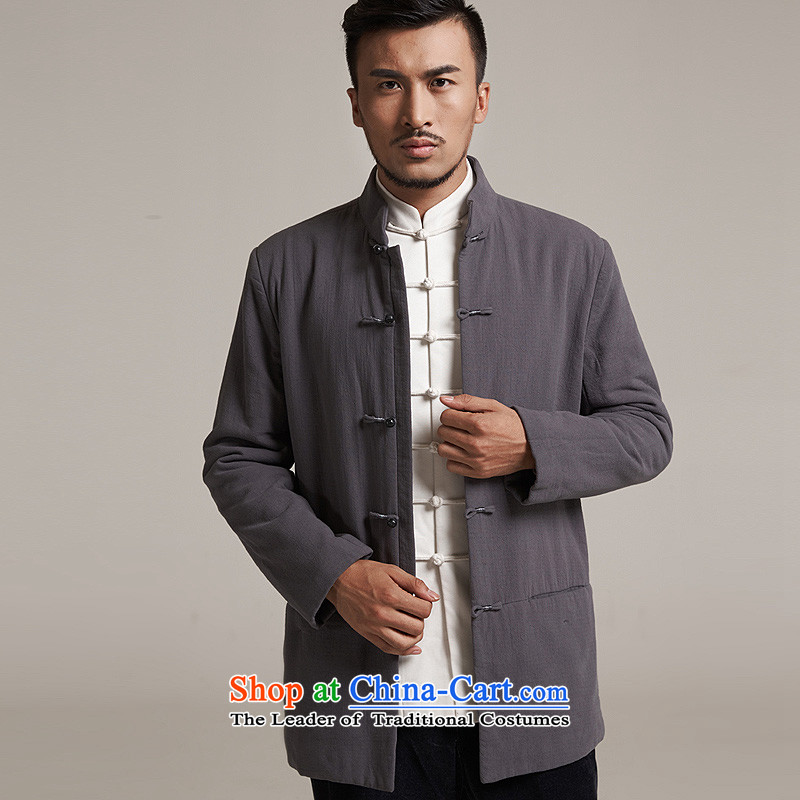 Fudo Zhengde de聽2015 autumn and winter new products men Tang dynasty China wind men robe older leisure jacket Tang dynasty warm dark gray聽M/44, de fudo shopping on the Internet has been pressed.