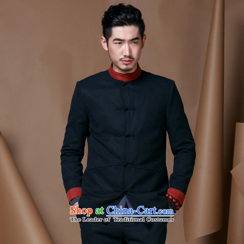 China wind men Tang dynasty men's jackets and autumn and winter of Chinese collar long-sleeved improved Han-male ball deep blue uniforms L