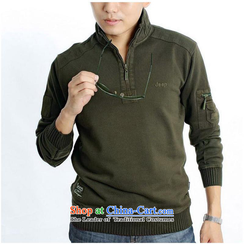 15 new products fall replacing men's long-sleeved T-shirt, forming the Men's Shirt lapel streaks?D22_?XXXL green
