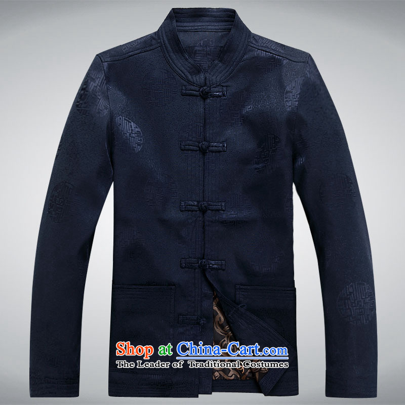 Tang dynasty men in older long-sleeved jacket coat shirt Chinese robe of pure cotton with round-Hi, my father # dark blue unlined garment 190 T-Shirt