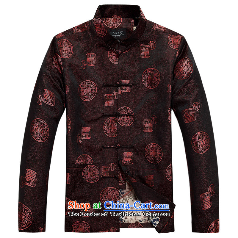 The elderly in the autumn and winter coats of older men Tang dynasty birthday golden marriage birthday feast long-sleeved shirt jacket燦o. 1 Color燲XSTOXL_