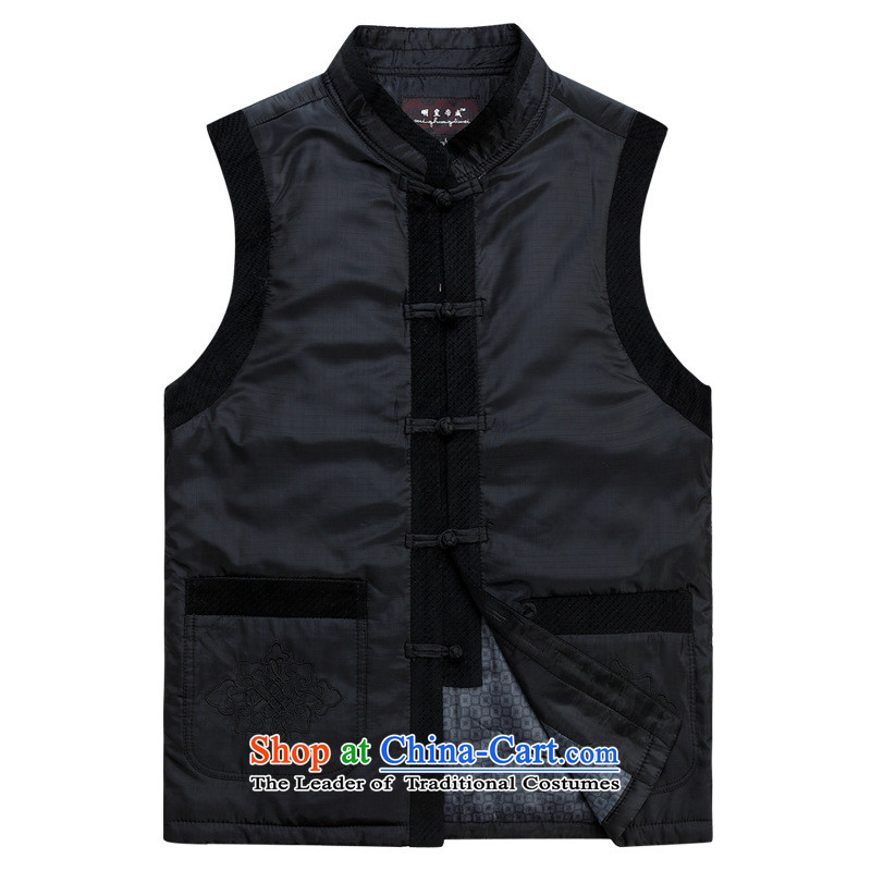 The new middle-aged autumn and winter men Tang Dynasty Cotton Men, a warm jacket Chinese collar Sleeveless Men's Jackets Tang dynasty black燲XSTOXL_