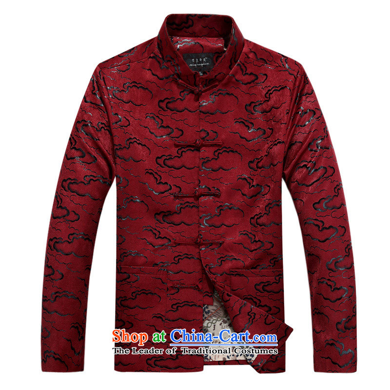 In elderly men Tang blouses Chinese national dress for autumn and winter long sleeve jacket coat white casual XXSTOXL)